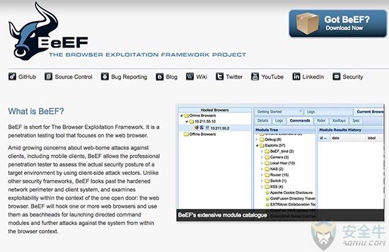 BeEF(浏览器漏洞利用框架)