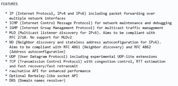 lwip协议栈的特性