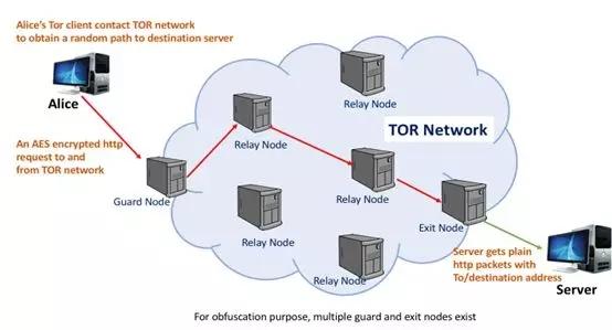 Alice与目标服务器之间TOR通信的说明