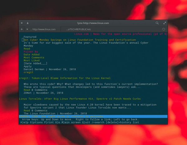 Lynx浏览器渲染Linux.com页面